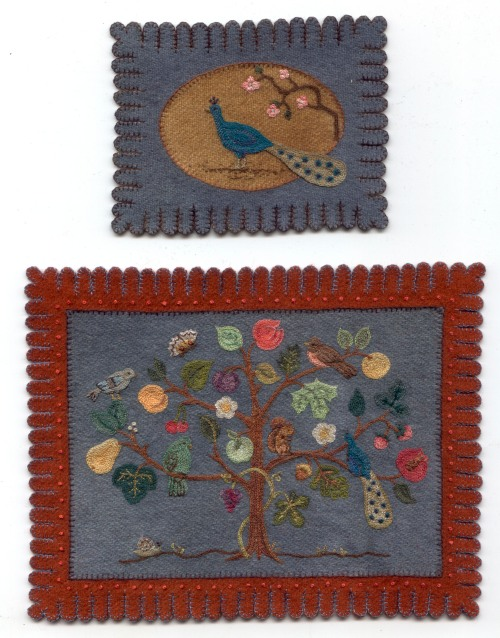 Peacock rug (top) and Tree rug by Patricia Richards Miniatures.