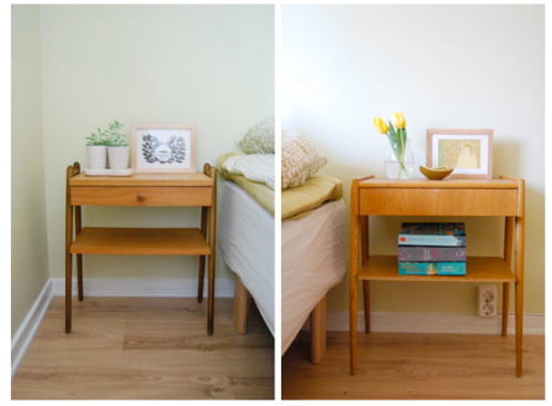 A pair of mismatched bedside tables that defy a feng shui principle.