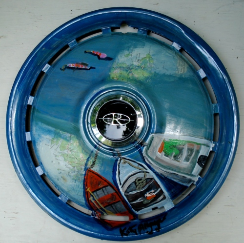 """Summer 2009"" Katy Allgeyer Mixed Media on Hubcap"